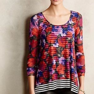 Anthropologie | Weston Garden Row Floral Top